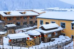 Scenery of snow village royalty free stock photography