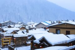 Scenery of snow village royalty free stock image