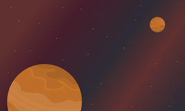 Scenery of space planets vector art Royalty Free Stock Photo