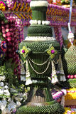 Scenery from statues and flowers on the street, Thailand. South east asia stock photography