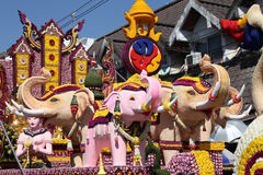 Scenery from statues and flowers on the street, Thailand. South east asia stock image