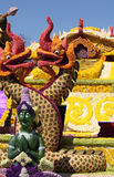 Scenery from statues and flowers on the street, Thailand. South east asia royalty free stock photo