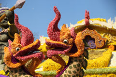 Scenery from statues and flowers on the street, Thailand. South east asia royalty free stock photos