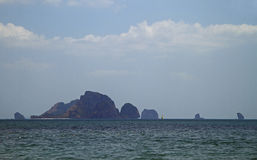Scenery stony islands, view from Ao Nang, Thailand Royalty Free Stock Image