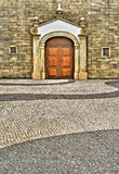 Scenery of street. With old style buildings and wall and ground royalty free stock photo