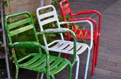 Scenery of the street of the town. With the colorful chair royalty free stock photo