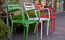 Scenery of the street of the town. With the colorful chair royalty free stock image