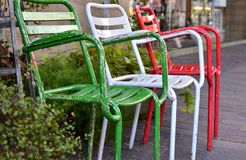 Scenery of the street of the town. With the colorful chair stock image
