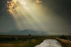 Sun rays after rain Stock Images