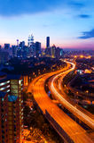 Scenery of sunset and busy highway Royalty Free Stock Photo