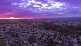 Scenery sunset over the city. Aerial view of sunset over the city stock video footage