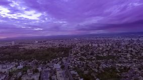 Scenery sunset over the city. Aerial view of sunset over the city stock video