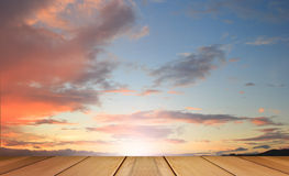 Scenery of sunset during twilight with wooden terrace. Stock Photography