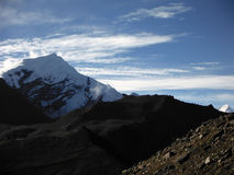Scenery of the Thorung-La Pass with a Snowy Himalayan Peak Stock Image