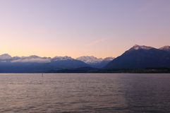 Scenery of Thun Lake in the morning Stock Image
