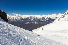 Scenery top view on winter mountains Royalty Free Stock Photography