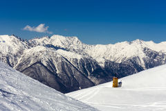 Scenery top view on winter mountains Royalty Free Stock Photo