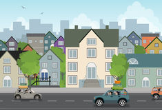 Scenery town. City traffic with a background building Royalty Free Stock Image