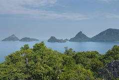 Scenery with tropical sea and islands. Beautiful scenery with tropical sea and islands royalty free stock photos