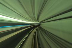 Scenery of tunnel from the moving train at turning Royalty Free Stock Photo
