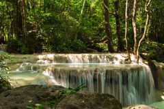 Scenery view. beautiful waterfall among the tree in the forest a. Scenery view. beautiful waterfall among the tree in the deep forest are background. this image royalty free stock photo