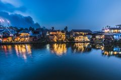 Scenery view. beautiful waterfront village in night scene have l Stock Photos