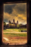 Scenery view from doorway ancient Khmer temple on Cambodia landmark Angkor Wat temple Royalty Free Stock Photography