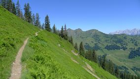 Scenery View Hiking path in Alps. Scenery view on the hiking path in alps near Salzburg Stock Photo