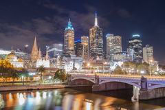 The scenery view of Melbourne cityscape in the night time, Australia. Royalty Free Stock Photos
