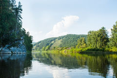 Scenery view of river Belaya Royalty Free Stock Images