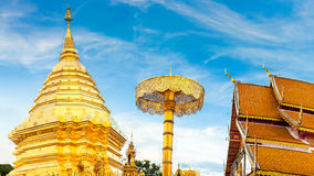 Scenery view Royal Buddhist wat thai Thailand Temple on background blue sky Stock Images