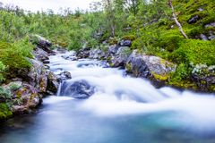 Scenery view in the Swedish north. Mountains river taken with long exposure. Scenery view in the Swedish north. Kings trail, nice place for hiking, camping Royalty Free Stock Image