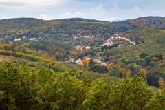 Autumn scenery of village Brennberg, Hungary royalty free stock image