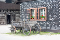 Scenery in the village Cicmany, Slovakia stock images