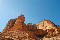 Scenery from Wadi Rum desert, Jordan. Wadi Rum (Arabic: وادي رم) also known as The Valley of the Moon (Arabic: وادي القمر) is a valley cut Stock Images