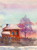Scenery. Watercolor countryside landscape with house  illustration Stock Photography