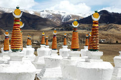 Scenery of white pagodas in a lamasery stock photography