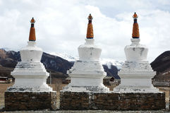 Scenery of white pagodas in a lamasery Royalty Free Stock Photos