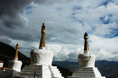 Scenery of white pagodas in a lamasery Royalty Free Stock Photo