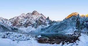 Scenery winter in Tatra mountains. Morskie oko lake royalty free stock photo