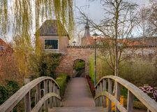 Free Scenery With A Bridge And The Historical City Wall In The Dutch Town Hattem, Province Gelderland Stock Photos - 215981453