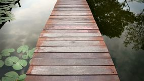 Scenery of Wooden Plank Walkway Over the Canal and Water Lily Pads royalty free stock image