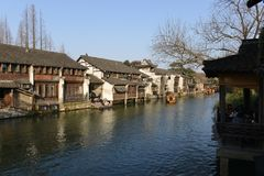 The scenery of Wuzhen town in Zhejiang, China. Wuzhen, a 1300-year-old water town on the lower reaches of the Yangtze River, is a national 5A scenic area and one royalty free stock photography