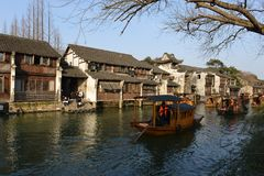 The scenery of Wuzhen town in Zhejiang, China. Wuzhen, a 1300-year-old water town on the lower reaches of the Yangtze River, is a national 5A scenic area and one stock images