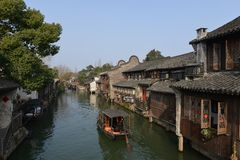 The scenery of Wuzhen town in Zhejiang, China. Wuzhen, a 1300-year-old water town on the lower reaches of the Yangtze River, is a national 5A scenic area and one royalty free stock image