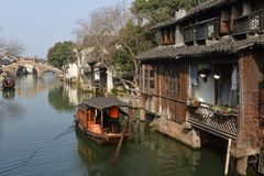 The scenery of Wuzhen town in Zhejiang, China. Wuzhen, a 1300-year-old water town on the lower reaches of the Yangtze River, is a national 5A scenic area and one stock image
