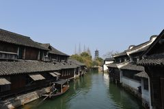The scenery of Wuzhen town in Zhejiang, China. Wuzhen, a 1300-year-old water town on the lower reaches of the Yangtze River, is a national 5A scenic area and one stock photo
