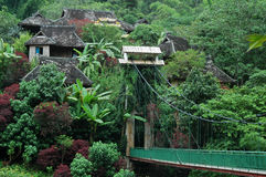 Scenery in xishuangbanna,yunnan,china. Tropical scenery in xishuangbanna,yunnan,china.A village hidden in the woods with a drawbridge Royalty Free Stock Image