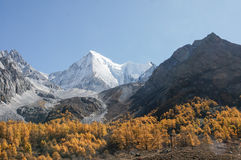 Scenery of Yading in Daocheng county, Sichuan of China. Autumn Landscape Stock Photo