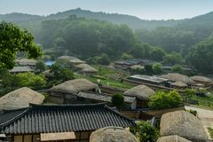 Yangdong Hanok Village or the preserved traditional village in Gyeongju city, South Korea. The scenery of Yangdong Folk Village which is the preserved royalty free stock photo